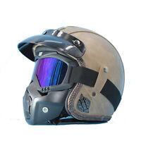 3/4 Open Face Chopper Motorcycle Helmet w/ Sun Visor Vintage Bicycle PU Leather