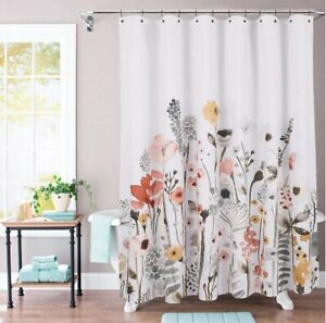 Threshold Floral Wave Shower Curtain 100% Cotton 72x 72