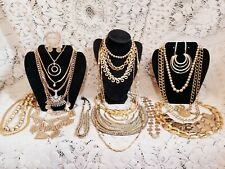 22 Piece Modern and Vintage Goldtone Mixed Necklace Lot - Monet, Napier