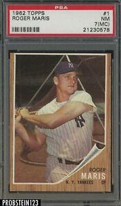 1962 Topps #1 Roger Maris New York Yankees PSA 7 NM (MC)