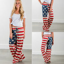 Women American Flag Printed Pants Palazzo Striped Wide Leg Long Loose Trousers