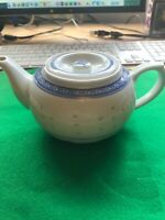 Rice Design Blue & White Embossed Small Teapot, Made in China