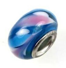 Lampwork Handmade Glass Bead Big Hole Fit Bracelet Charm Blue Pink white