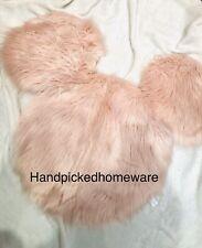 Primark Disney Mickey Mouse Rug Throw Pink Faux Fur Mickey Minnie Head New RARE