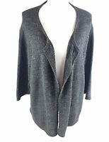 purejill Womens 3/4 Sleeve Knit Open Cardigan Sweater Size XL Gray Cotton