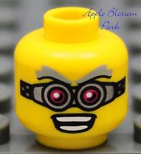 NEW Lego Scientist MINIFIG HEAD -Male Boy Goggles Eye Glasses Gray Hair Eyebrows