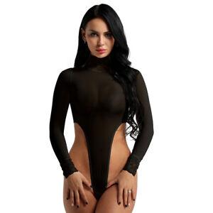 Women Long Sleeve High Cut Turtleneck Thong Leotard Crotchless Bodysuit