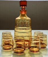 Vintage Retro 1200ml Decanter with stopper and 6 150 ml glass set