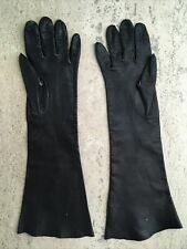 Washable Vintage Leather Gloves Black Elbow Length Size 6.25 UnLined Italy