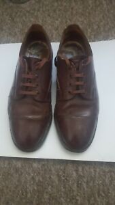 Vtg Frank Wright Silver Stud Officers Veldtschoen Brown Leather Shoes size 7