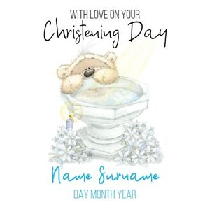PERSONALISED CHRISTENING/BAPTISM/NAMING DAY CARD - BOY  AT THE FONT  FIZZY MOON