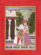 INDIAN MINIATURE PAINTING FINE ART ROYAL MAHARAJA WITH QUEEN REAL GOLD WORK