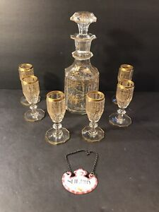 Antique Gold Decorated Crystal Decanter +6 Liquor Glasses/ Hand Painted/ C.1900