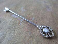 """Silver Faux Opal Heart Skeleton Key Barbell Industrial Scaffold 1.5"""" (38mm)"""
