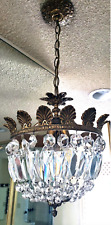 Vintage Crystal / Brass Basket Ceiling Light Fixture Chandelier (4 available)