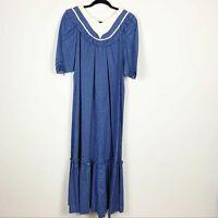 VTG Kahala Hawaii Polka Dot Ditsy Muumuu Maxi Dress Blue White Size 6