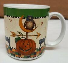 Halloween by Sakura Mug Debbie Mumm Owl Pumkin Checker Rim 1998