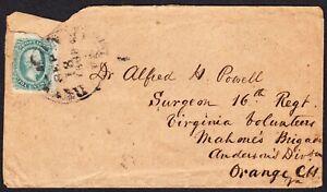 1863 US Confederate States Cover #11c to Surgeon Volunteer Mahon Brigade A. Div