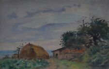 G Morvan. French summer landscape with stacks of hay and a hut. Early 1900s