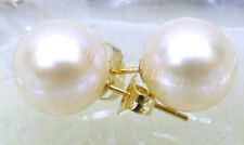 TOP PERFECT ROUND 9.5MM AAAA WHITE AKOYA PEARLS EARRING 14K YELLOW GOLD