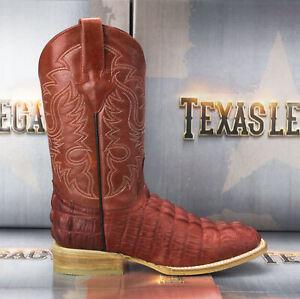 Mens Crocodile Tail Print Cowboy Boots Genuine Leather Western Square Toe Botas