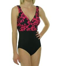 Tropical Honey One Piece Swimsuit Sz 12 Black Pink Floral Slimming Swimwear