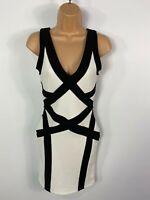 WOMENS MISS SELFRIDGE UK 8 BLACK/WHITE PANEL PLUNGE V BACK BANDAGE BODYCON DRESS