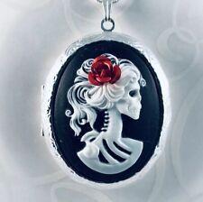 Skeleton SKULL Lady ROSE CAMEO LOCKET NECKLACE 925 Silver pltd Chain HALLOWEEN
