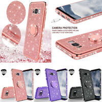 For Samsung Galaxy S8 S9 Plus Bling Glitter Ring Phone Case w/ Temper Glass