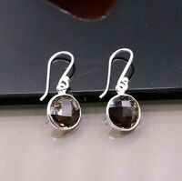 TINY HOOPS 925 SILVER SMOKY QUARTZ HOOPS EARRINGS DROP DANGLE GIRLS JEWELRY s207