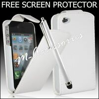 WHITE FLIP PU LEATHER CASE COVER POUCH FOR VARIOUS MOBILE PHONES + FREE SP