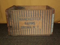 VINTAGE 1960 MANCHESTER  FARMS BRONX NY WOOD MILK BOTTLE BOX