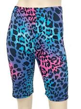 LADIES LEOPARD BLUE PINK CYCLING SHORTS HALF LENGTH ANIMAL TIGER PRINTED LEGGING