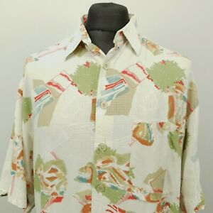 RETRO Mens Vintage Shirt LOOSE FUNKY CRAZY 41/42 LARGE Relaxed Abstract Viscose