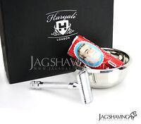 Shaving Set Silver Double Edge Safety Razor Kit  Arko Shaving Soap Shaving Bowl