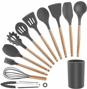 Cooking Utensil with Wooden Handles, for Nonstick Cookware,11 Pieces