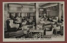 RMS Queen Elizabeth Smoking Room 'First Class'  vintage postcard  RP  qp610