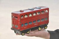 Vintage Double Decker 2032 - 5 Express Red Painted Friction Bus Tin Toy