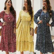 Maxi Dress Casual Evening V Neck Party Boho Long Sleeve Womens Dresses Loose