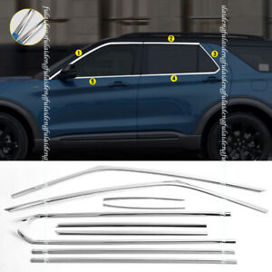 For Ford Explorer 2020 Chrome Stainless Car Window Strips frame Sill Cover Trim