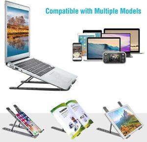 Aluminum Adjustable Laptop Stand Foldable Notebook Tablet Riser Holder Portable