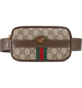 NEW GUCCI OPHIDIA GG SUPREME COATED CANVAS LEATHER WEB FANNY PACK BELT BAG 85/34