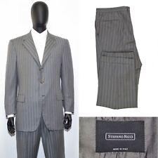 Men's STEFANO RICCI Suit 56IT 46US/UK Gray Striped Wool & Silk