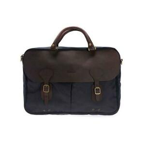 Barbour Wax And Leather Briefcase Navy Bag Messenger One Size