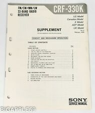 Sony CRF-330K AM FM Shortwave Radio Service Manual Supplement #2 SCARCE ORIGINAL