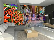 Night Graffiti View Wall Mural Photo Wallpaper GIANT WALL DECOR Paper Poster