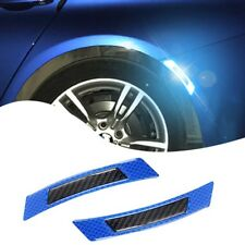 2x CARBON FIBER CAR WHEEL EYEBROW REFLECTIVE TRIM SAFETY PROTECTION STICKER BLUE