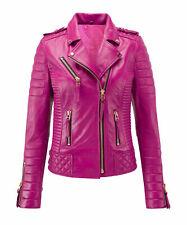 Urban Womens Genuine Lambskin Real Leather Jacket Motorcycle Slim fit Biker Coat