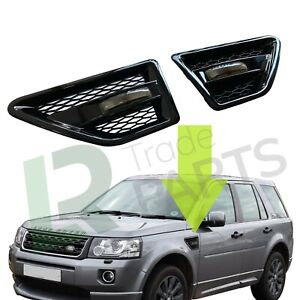 LAND ROVER FREELANDER 2 NEW GLOSS BLACK SIDE WING AIR VENTS & SMOKED REPEATERS