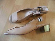 ADOLFO DOMINGUEZ chice Sandaletten beige goldener Absatz Gr. 41 TOP SNC516